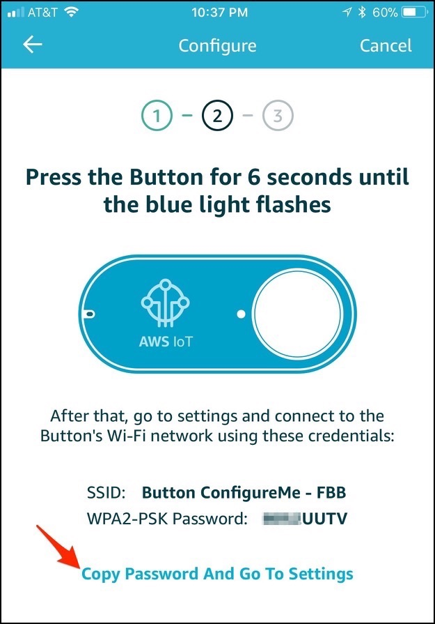 Aws ios press button