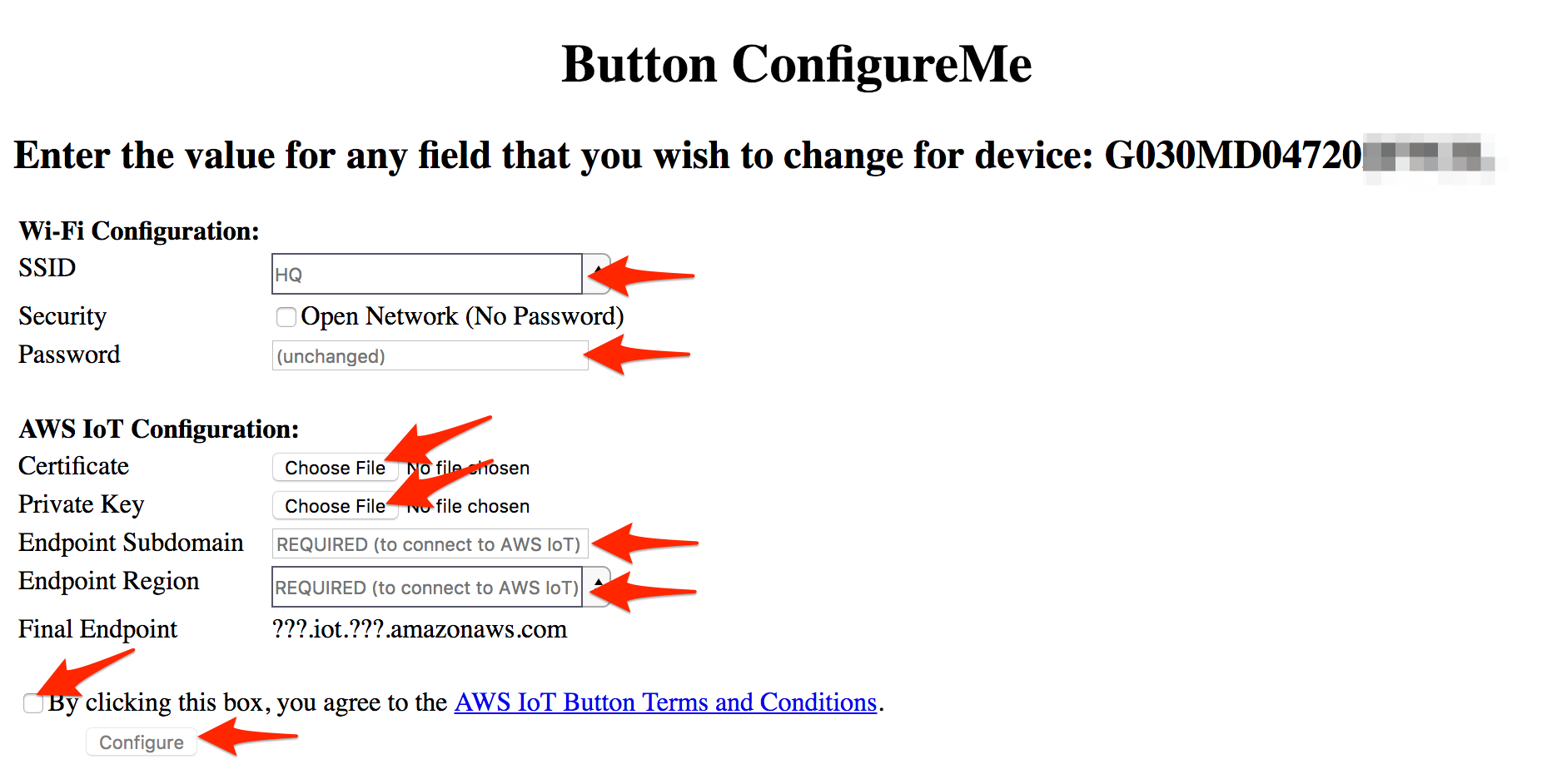 Iot button restore config